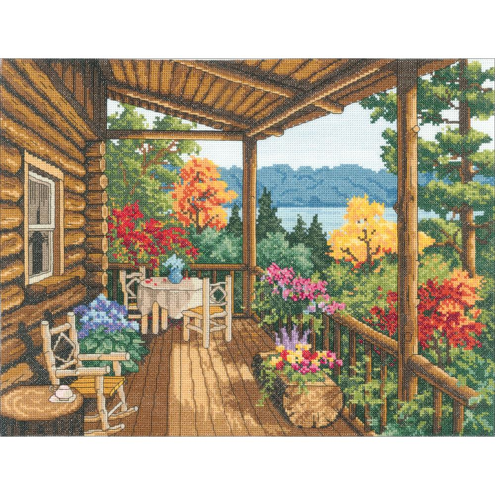 Log Cabin Covered Porch Counted Cross Stitch Kit By