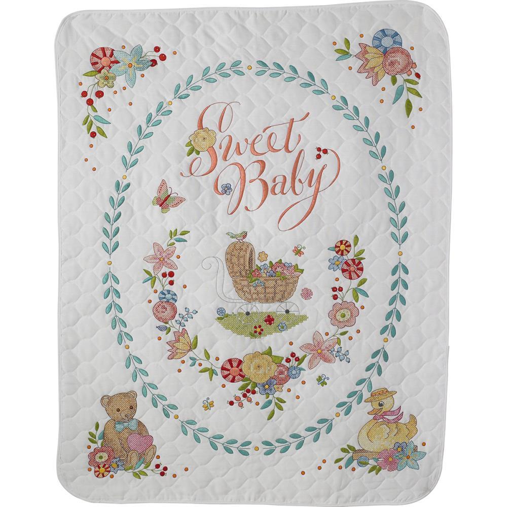 Sweet Baby Bucilla Stamped Crib Cover Cross Stitch Kit