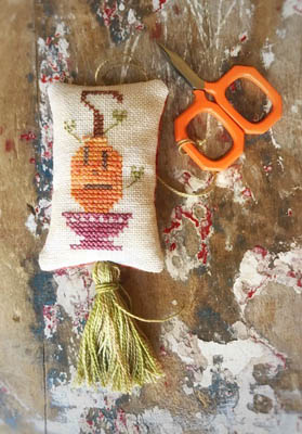 Pumpkin Scissor Fob Cross Stitch Pattern by Lucy Beam
