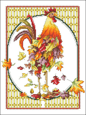 October Rooster Cross Stitch Pattern by Vickery Collection