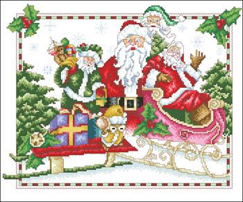 Santas Ready Cross Stitch Pattern by Vickery Collection