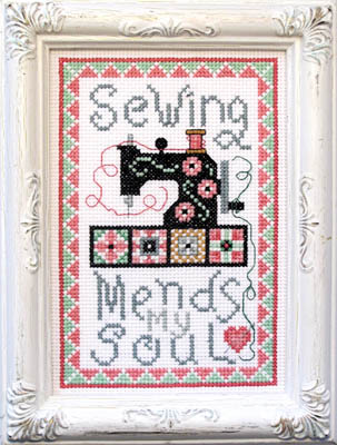 Sewing Mends My Soul Cross Stitch Pattern by Bobbie G Designs