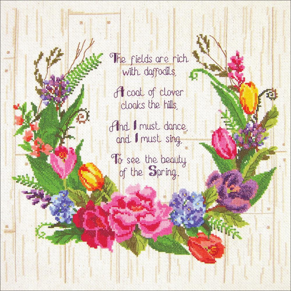"Janlynn Counted Cross Stitch Kit 14""X14"" Spring Sentiments"