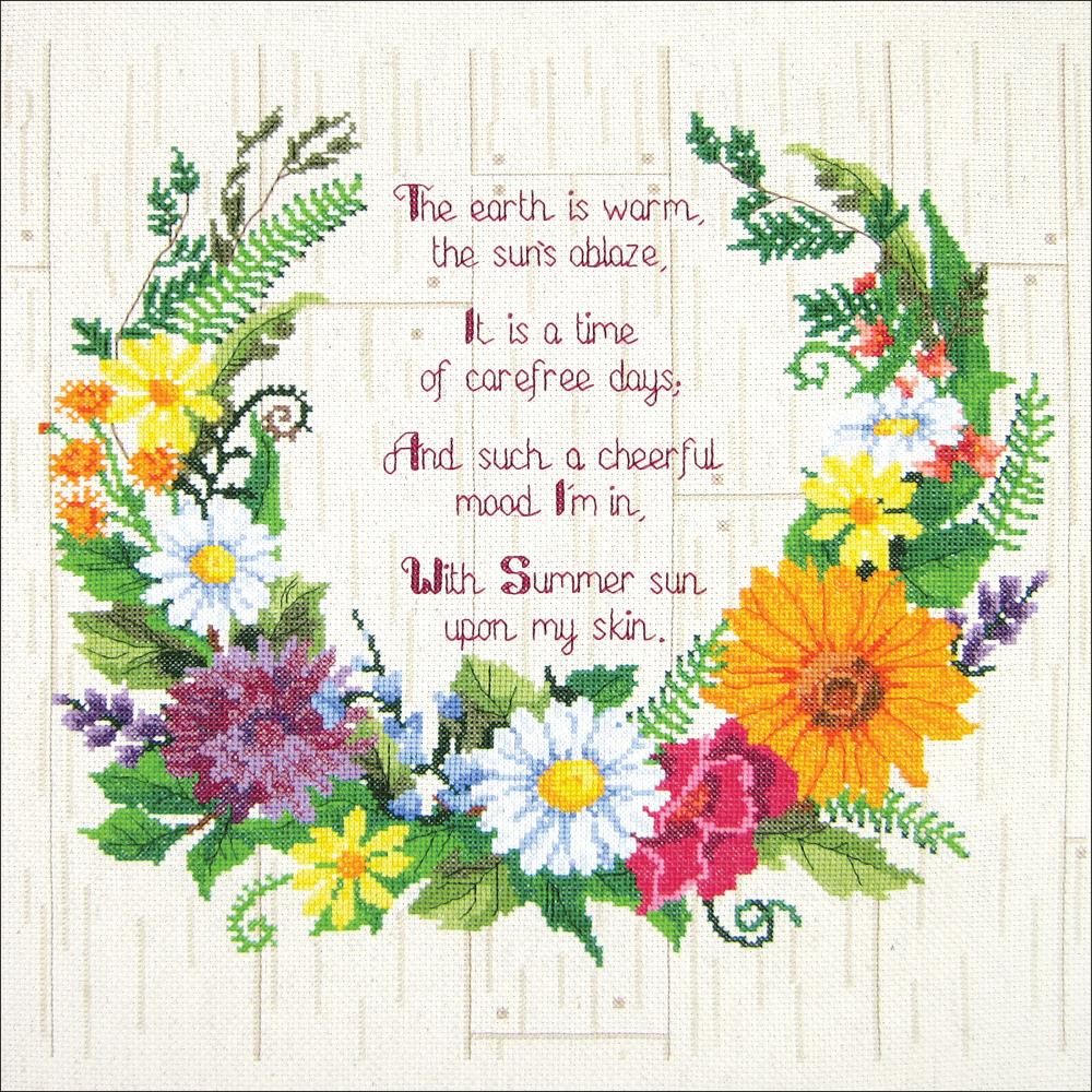 "A beautiful Summer Wreath of lovely flowers on a rustic wood background with an inspiring quote designed by Paul Brent. Each kit includes 14-count white cotton Aida, 6-strand cotton floss, needle, chart and instructions. Finished size: 14"" x 14""."