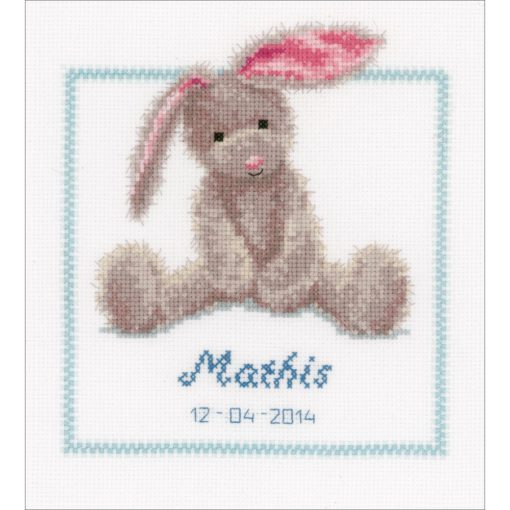"Vervaco Counted Cross Stitch Kit 7.5""X8.5"" Cute Bunny Birth Record"