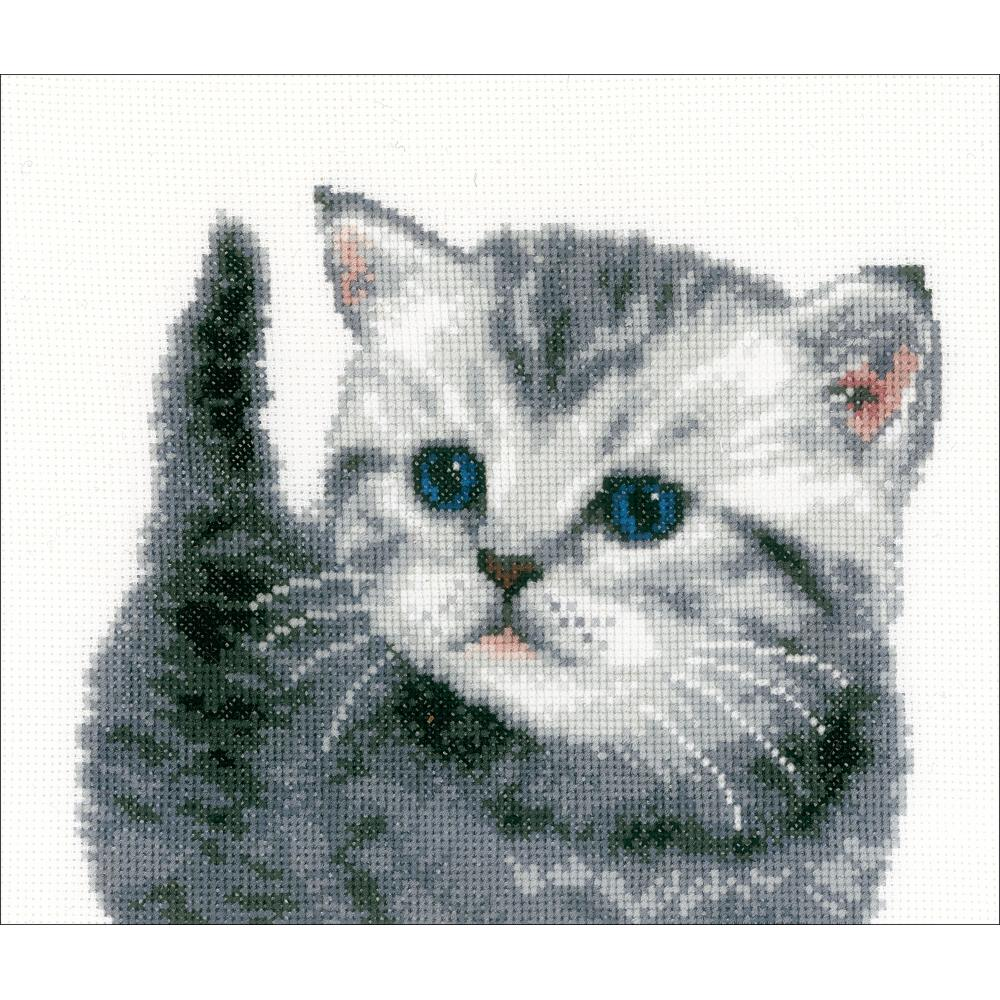 "Vervaco Counted Cross Stitch Kit 10.75""X8.5"" Grey Tiger Kitten"