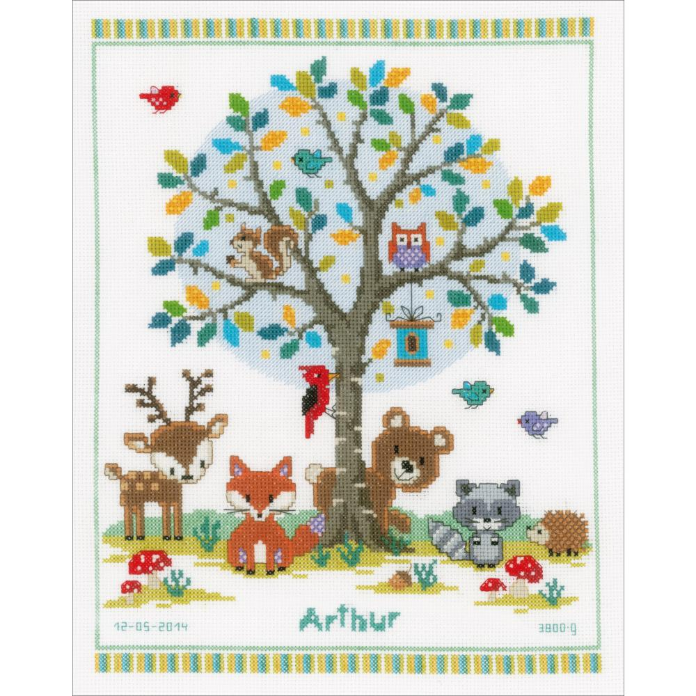 "Vervaco Counted Cross Stitch Kit 11.25""X14"" In The Woods Birth Record"