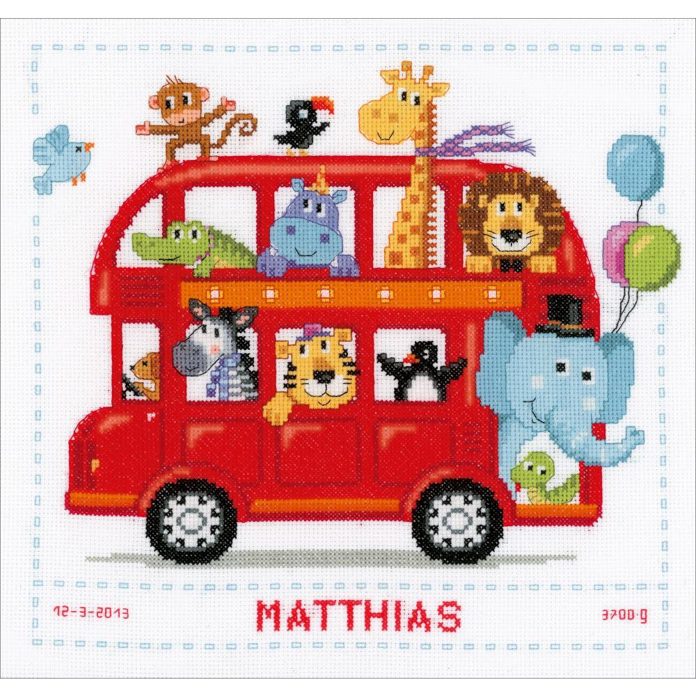 "Vervaco Counted Cross Stitch Kit 11.25""X11.25"" Safari Bus Birth Sampler"