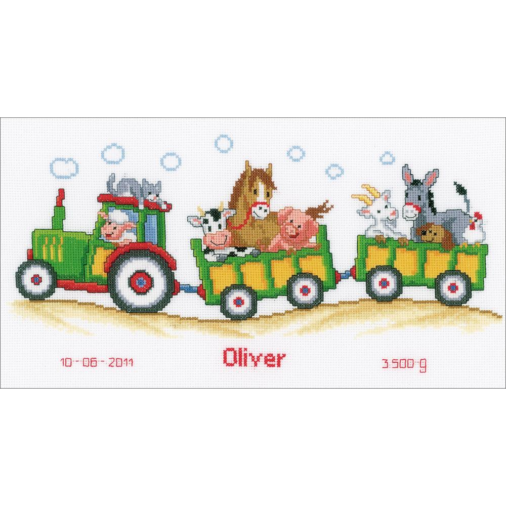 "Vervaco Counted Cross Stitch Kit 14.5""X7.5"" Tractor/Animals Birth Record"