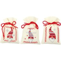 Vervaco Christmas Gnomes Sachet Bags Counted Cross Stitch Kit