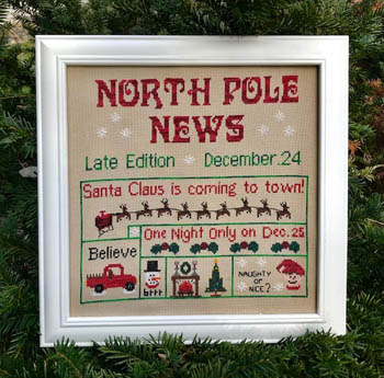 North Pole News Cross Stitch Pattern by Pickle Barrel Designs