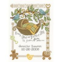 Perfect Gift Birth Cross Stitch Kit by Imaginating