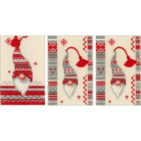 Vervaco Christmas Gnomes Greeting Cards Counted Cross Stitch