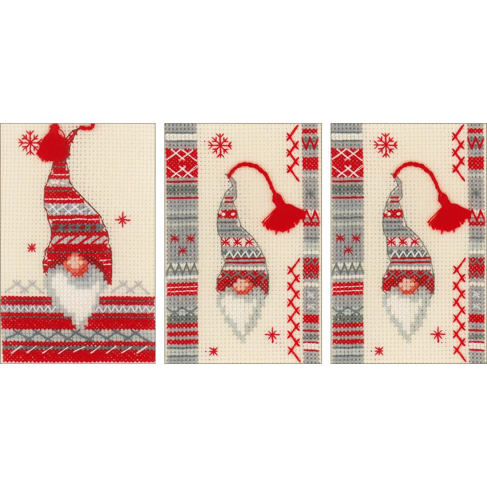 Christmas Gnomes Pattern.Vervaco Christmas Gnomes Greeting Cards Counted Cross Stitch