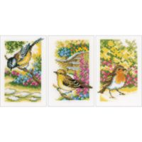 Vervaco Miniatures Garden Birds Counted Cross Stitch Kit 3.25″ X 4.75″