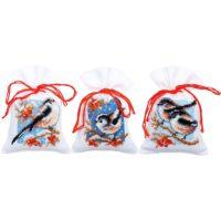 Vervaco Birds & Berries Sachet Bags Cross Stitch Kit