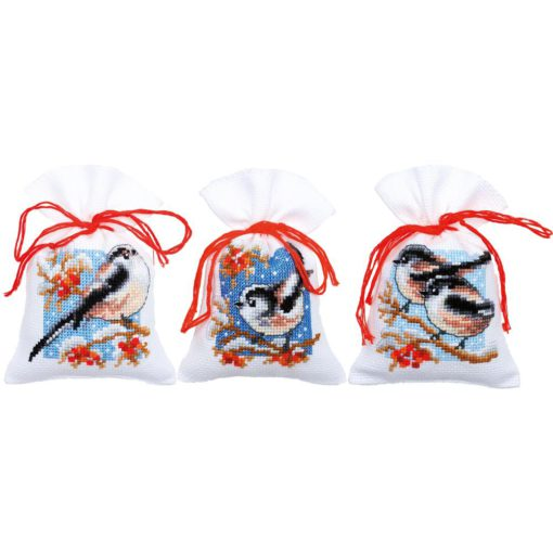 Vervaco Birds & Berries Sachet Bags Cross Stitch Kit