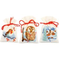 Vervaco Winter On Ecru Sachet Bags Counted Cross Stitch Kit