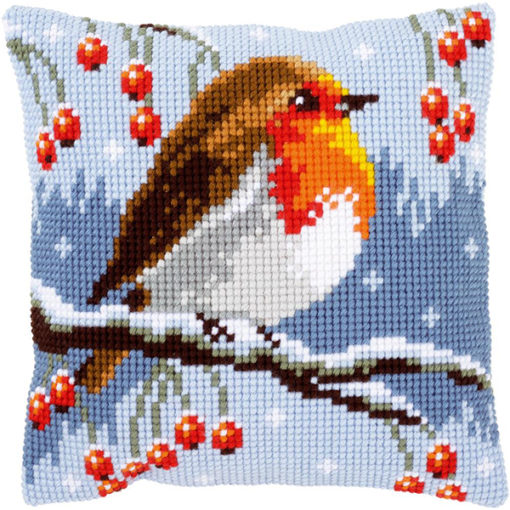Vervaco Red Robin in Winter Needlepoint Cushion Top Kit