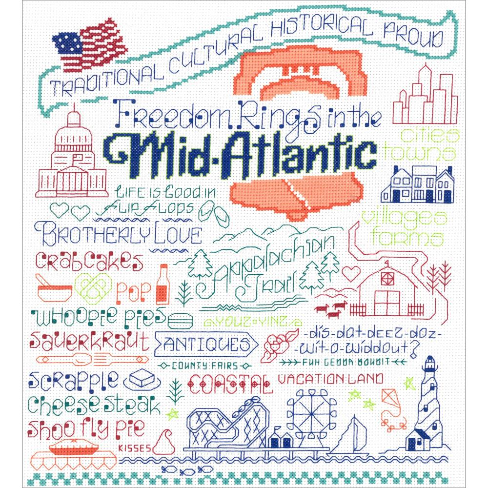 Let's Visit The Mid-Atlantic Cross Stitch Kit by Imaginating