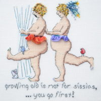 Growing Old Is Not For Sissies Cross Stitch Pattern by MarNic Designs