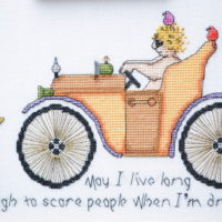 May I Live Long Enough to Scare People When I'm Driving! Cross Stitch Pattern by MarNic Designs