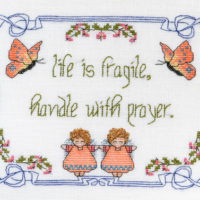 Life Is Fragile – Handle With Prayer Cross Stitch Pattern by MarNic Designs