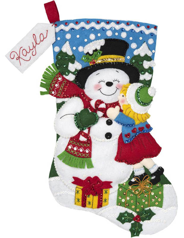 Snow Man Kisses Bucilla Christmas Stocking