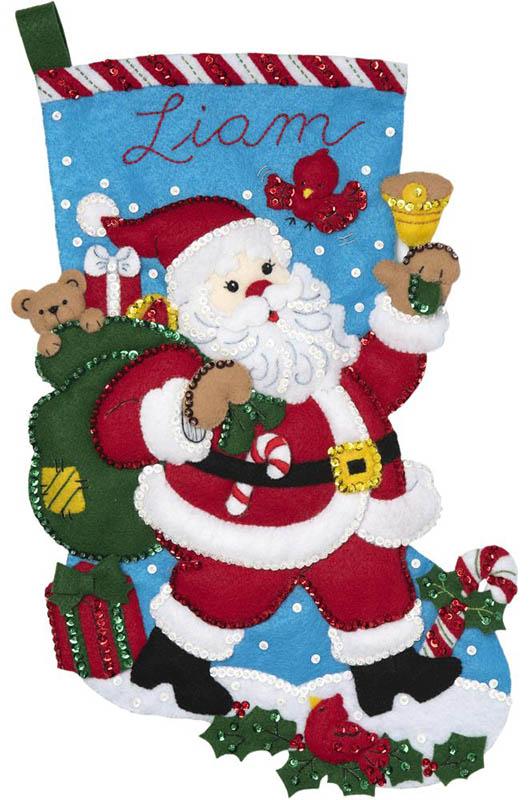 Santa Bell Ringer Bucilla Stocking