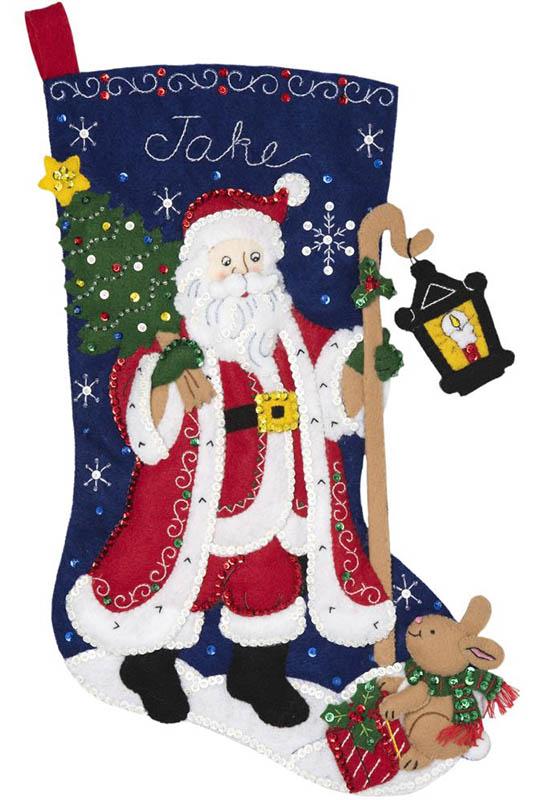 Santa with Lantern Bucilla Christmas Stocking