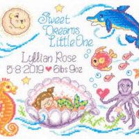Sea Angels Birth Record Cross Stitch Pattern by Imaginating