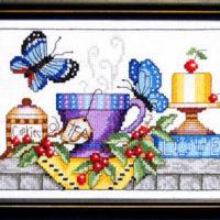 Tea & Butterflies Cross Stitch Pattern Bobbie G Designs
