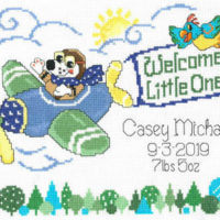 Little Pilot Birth Record Cross Stitch Pattern by Imaginating