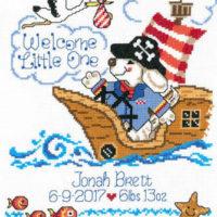 Pirate Birth Record Cross Stitch Pattern by Imaginating