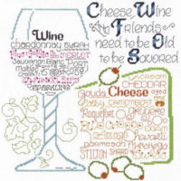 Let's Share Wine And Cheese Cross Stitch Pattern by Imaginating