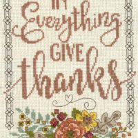 Give Thanks Floral Cross Stitch Kit by Imaginating