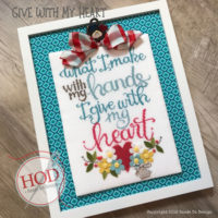 Give With My Heart Cross Stitch Pattern by Hands On Designs