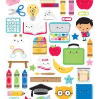 Dooblebug SCHOOL DAYS Cardstock Stickers 6″X13″ Icons