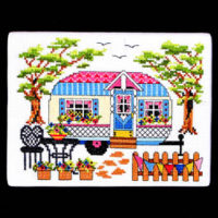 Spring Camper Cross Stitch Pattern by Bobbie G Designs