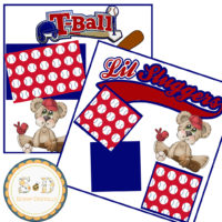 TEE BALL 2 Premade Scrapbook Layout Pages – Digital Scrapbooking