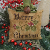 Primitive Merry Christmas Pillow Cross Stitch Pattern Abby Rose Designs