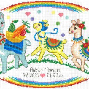 Llama Birth Record Cross Stitch Pattern by Imaginating