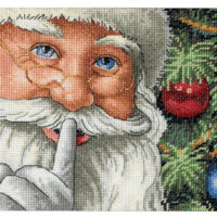 Santa's Secret Cross Stitch Kit ~ Dimensions Gold 18 Count