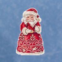 Santa With Cardinal by Jim Shore – Beaded Cross Stitch Kit