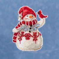 Mill Hill Snowman With Cardinal by Jim Shore – Beaded Cross Stitch Kit