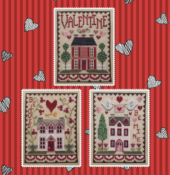Valentine House Trio Cross Stitch Patterns by Waxing Moon Designs