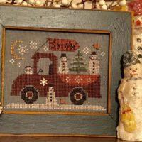 Traveling Snowmen Truck Cross Stitch Pattern by Homespun Elegance