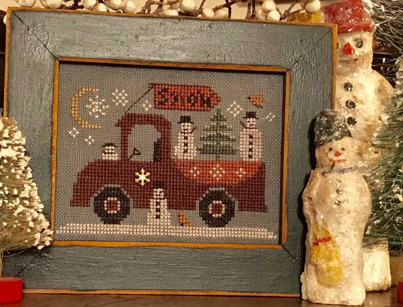 Traveling Snowmen Truck Cross Stitch Pattern bu Homespun Elegance