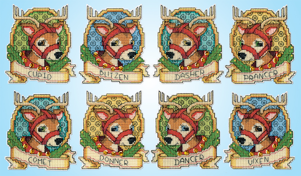 Design Work Reindeer Ornaments Counted Cross Stitch Kit