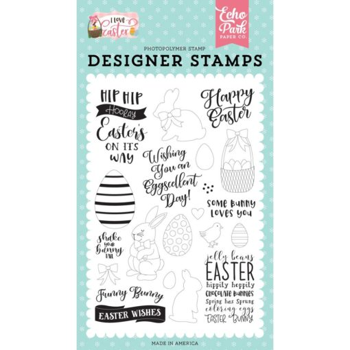 Funny Bunny I Love Easter Acrylic Stamps by Echo Park